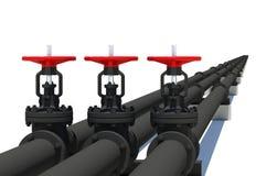 Three black pipes with valves Stock Photos