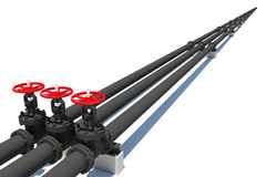 Three black pipes with valves Royalty Free Stock Image