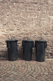 Blak garbage bins Royalty Free Stock Photos