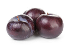 Three black plums Royalty Free Stock Images