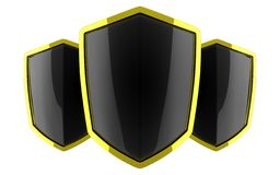 Three black polished shields Royalty Free Stock Photos