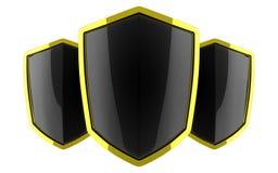 Three black polished shields Royalty Free Stock Photos