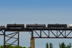 Three black railway cars Royalty Free Stock Photography