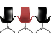 Three black and red office armchairs isolated. On white, 3d render/illustration Royalty Free Stock Image
