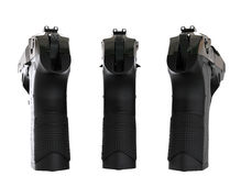 Three black semi automatic pistols - back view Royalty Free Stock Images