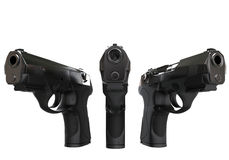 Three black semi automatic pistols Royalty Free Stock Photo
