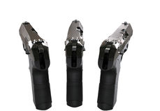 Three black semi automatic pistols - top back view Royalty Free Stock Photography