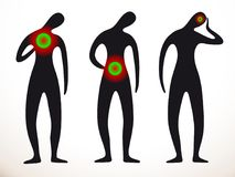 Three black silhouettes of sick people. The first hurts the heart and chest. The second problem in the abdomen. The third headache. Red green indicates the Royalty Free Stock Photo