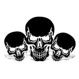 Three black skulls, silhouette with shadow, on white background, royalty free illustration
