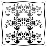 Three Black and white floral pattern. Set Stock Photography