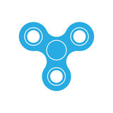 Three-bladed fidget spinner - popular toy and anti-stress tool. Blue simple flat vector icon isolated on white Royalty Free Stock Images