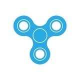 Three-bladed friemel spinner - populair stuk speelgoed en antistresshulpmiddel Blauw eenvoudig vlak vectordiepictogram op wit wor Royalty-vrije Stock Afbeeldingen