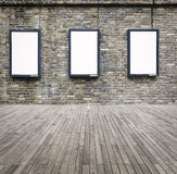Three blank advertising light box on the wall Royalty Free Stock Photos