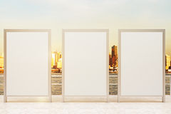 Three blank banners observation ground. Observation ground with three blank banners and sunlit city background. Mock up, 3D Rendering Royalty Free Stock Image