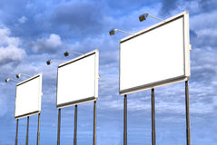 Three blank billboard. You can fill it with your slogan Stock Photography