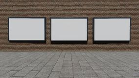 Three blank billboards. 3D rendering royalty free stock photography