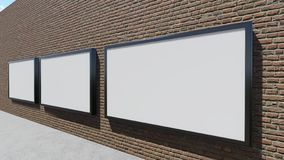 Three blank billboards. 3D rendering royalty free stock images