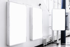 Urban Billboards. Three blank billboards situated at a generic city location that could be anywhere in the world Royalty Free Stock Image
