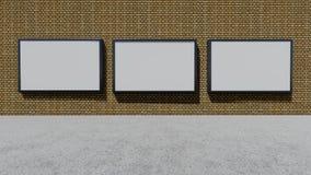 Three blank billboards. 3D rendering stock photography