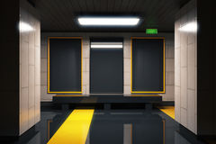 Three blank black billboards in subway with yellow lines Royalty Free Stock Photos