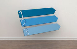 Three blank blue upward pointing arrows Stock Image