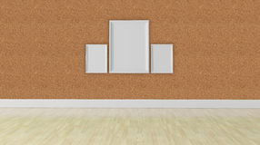 Three blank frame concept, corkboard wall texture Stock Image
