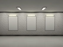 Three blank frame in loft room. 3d rendering Royalty Free Stock Photo