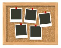 Three blank frame photo prints, cork notice board. Blank instant photo pinned to a cork board Stock Photos
