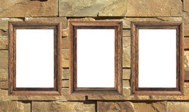 Three blank frames. On the wall Stock Image