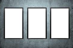 Three blank frames on concrete wall. Ad aging align art background black blank board border stock photos