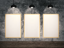 Three blank frames hanging Royalty Free Stock Image