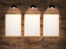 Three blank frames hanging Royalty Free Stock Image