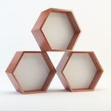 Three blank hexagon wood box Stock Image