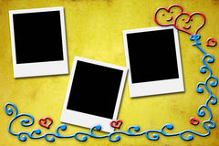 Three blank instant photo frames for lovers Royalty Free Stock Photos