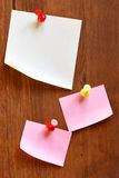 Three blank note papers Stock Photo