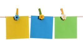 Three blank notes Stock Photo