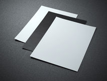 Three blank paper sheets Royalty Free Stock Photo