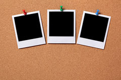 Three blank polaroid frame photos notice board copy space Royalty Free Stock Photos