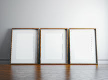 Three blank picture frame and sunlight on a wall. 3d render. Blank pictures frame and sunlight Stock Photo