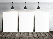 Three blank placards Stock Photos