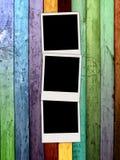 Three Blank Polaroids On Wooden Background Royalty Free Stock Image