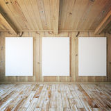 Three blank posters in room Royalty Free Stock Photo