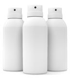 Three blank spray cans. Isolated on white background. 3d illustration Stock Photography