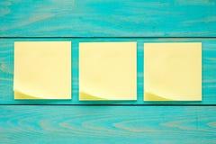 Three blank  sticky notes Royalty Free Stock Photo