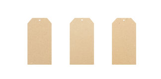 Three blank tags. Three paper labels on a white background Stock Photo
