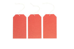 Three blank tags. Three paper red labels on a white background Royalty Free Stock Photo