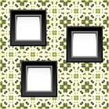 Three blank white frames on baroque wallpaper Royalty Free Stock Photos