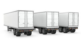Three blank white parked semi trailers Stock Photos