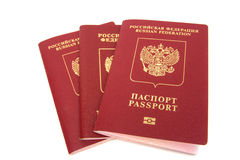 Three russian passports Stock Photo