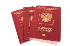 Three russian passports Stock Photo